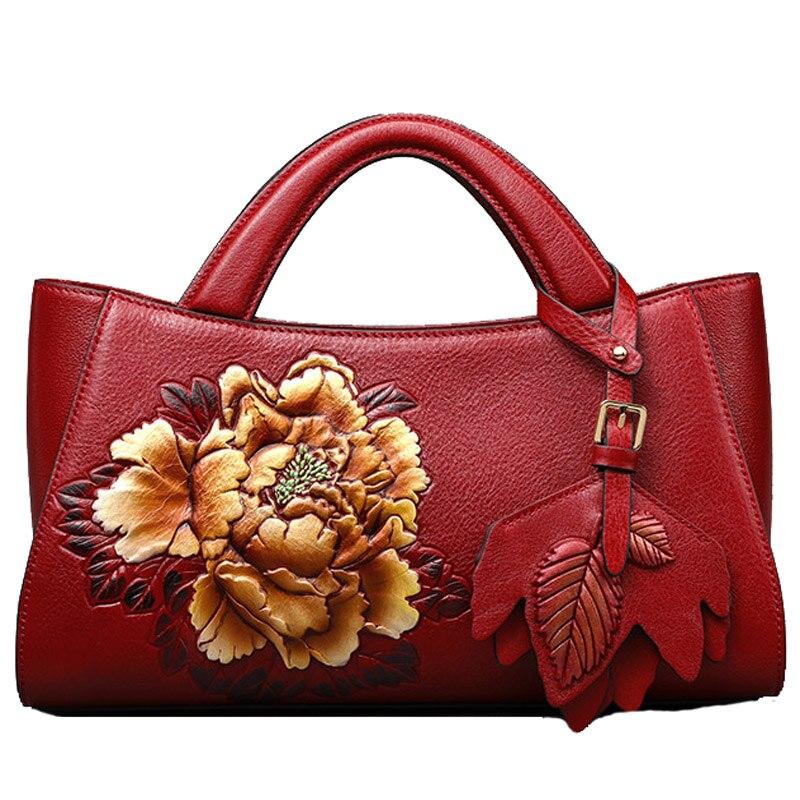 Women Genuine Leather Shoulder Bag Chinese Style Handbag Embossed Buckets Bag Ladies Totes Flower Crossbody Bags Retro Bolsas все цены