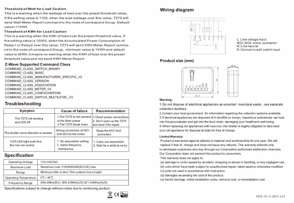 Z-волны плюс ТКБ дома TZ75 рольставни модуль регулятора модуль смарт-переключатель с позиции обнаружения 100-240V входное напряжение