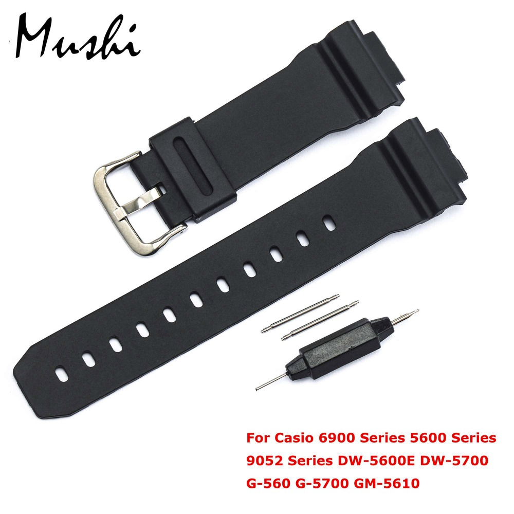 Watchband for Casio 6900 Series 5600 Series <font><b>DW</b></font>-<font><b>5600E</b></font> <font><b>DW</b></font>-5700 Man Blcak Watchband Pin Buckle Watch band Wrist Bracelet Black+Tool image