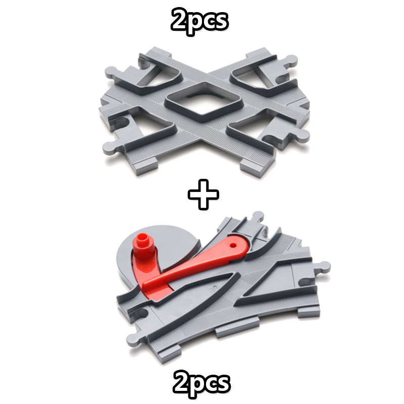 4Pcsset Big Size Train Track Blocks Track Crossover Parts Railway Compatible Duploe Building Bricks Toys for Children (5)