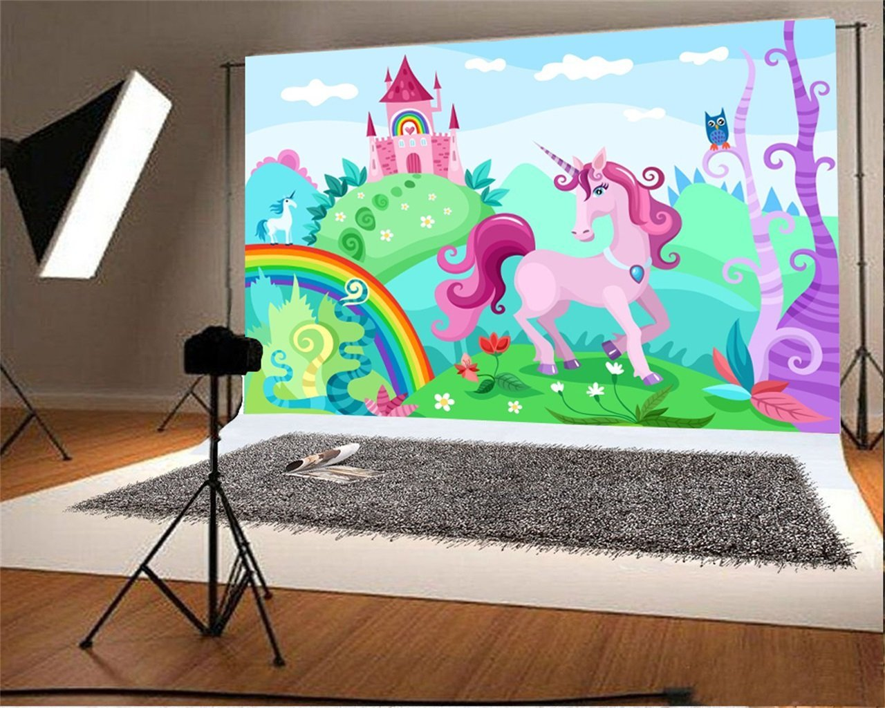 sky white clouds Cartoon Unicorn Forest Castle Rainbow Flower Background Vinyl cloth Computer print children kids backdrops