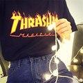 2017 Summer T Shirt Wome Flame Blaze Thrasher T-shirts Magazine Hip Hop Trasher Letter printing Street Wear T Shirt Tops