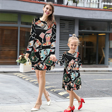 2017 New Arrival Christmas Cartoon Printed Dress for Women Autumn Winter Elegant New Year Party Wear Dresses