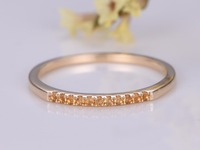 Natural Citrine Wedding Band Engagement Ring Pave Set Ring Wedding Ring In 14k Gold Art Deco