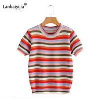 Lanbaiyijia Newest Women Rainbow Striped T shirt Knitted Shirt Women t shirt Short Sleeve O neck Casual Autumn Short Women Tops
