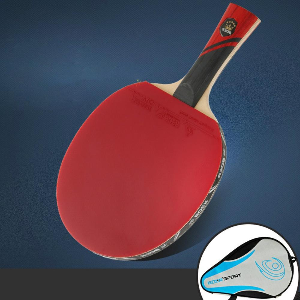 HE Rubber Table Tennis Paddle Professional Pingpong Racket Straight/horizontal Grip Table Tennis Racket With Case