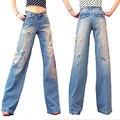 Небольшой свежий 2016 женский мода высокая талия вышитым узором джинсы свободного покроя национальной тенденции бисером широкую ногу джинсовые брюки плюс