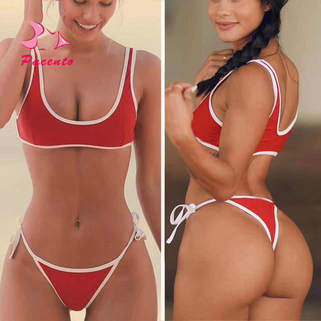 171db1bf87e39 Pacento New Solid Red Bikini Thong Bottom Sport Crop Top Bathing Suits Women  High Cut Sexy Swimsuit Women Swimwear Female Plavky