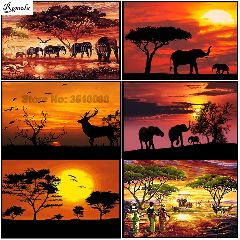 Diamond Painting Africa Animal DIY Diamond Embroidery 5D Square Mosaic Full Pictures by Numbers Rhinestones Elephants(China)