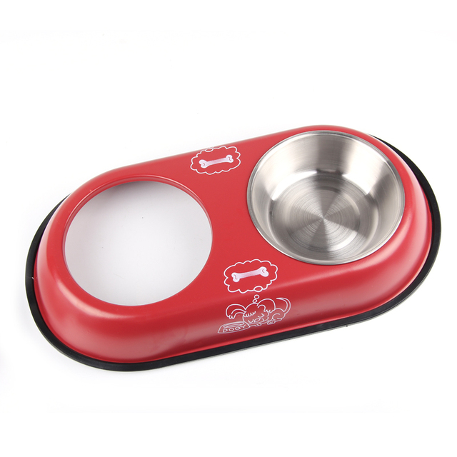 Stainless Steel Double Bowl For Dog Cat Small Pet Food Water Feeder Feeding Puppy Drinking Dish 2 Size dropshipping