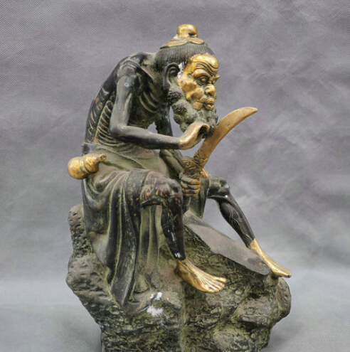 12 China Folk Old Man Hold font b Knife b font Shaving Beard Bronze Statue Figurine