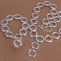 O designsetTop quality Silver Plated & Stamped 925 jewelry sets chain bracelet necklace set silver jewelry pendientes to.us bear