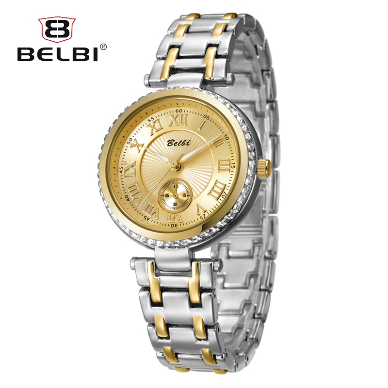 BELBI Luxury Women Wrist Watches Fashion Digital Gear Design Dial Retro Alloy Quartz Battery Exquisite Wristwatches Female Gift dog shaped retro digital flip page gear clock 1 x d battery