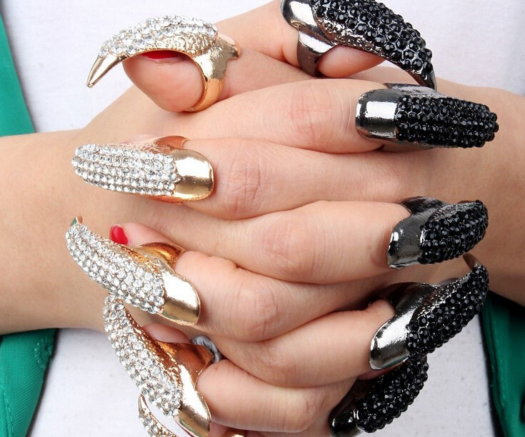 New Fashion Punk Finger Rings For Women Gold Color Cz Crystal Eagle ...