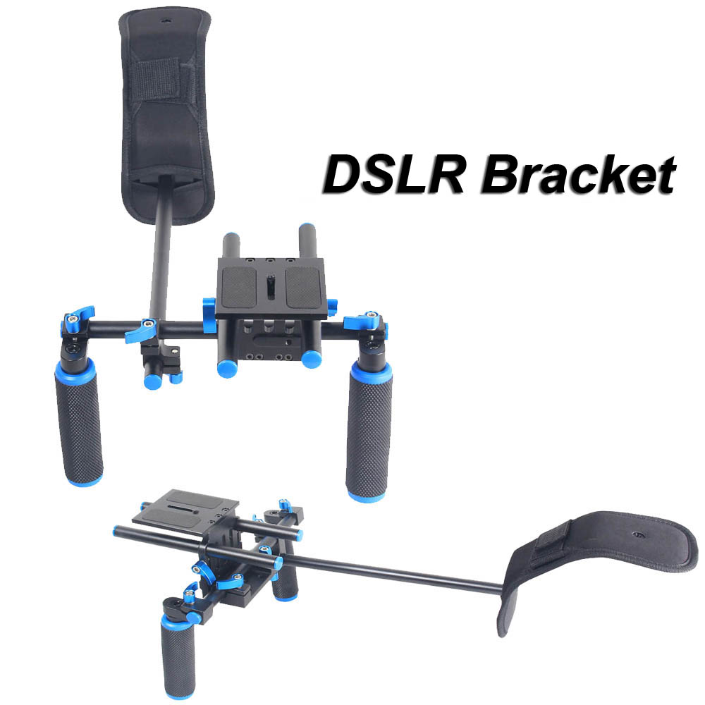 DHL New DSLR Video Bracket Shoulder Mount Support Rig Handgrip Holder For Canon Sony Nikon Panasonic SLR Camera DV Camcorder pixle vertax d14 battery grip as mb d14 for nikon dslr d600 d610 camera