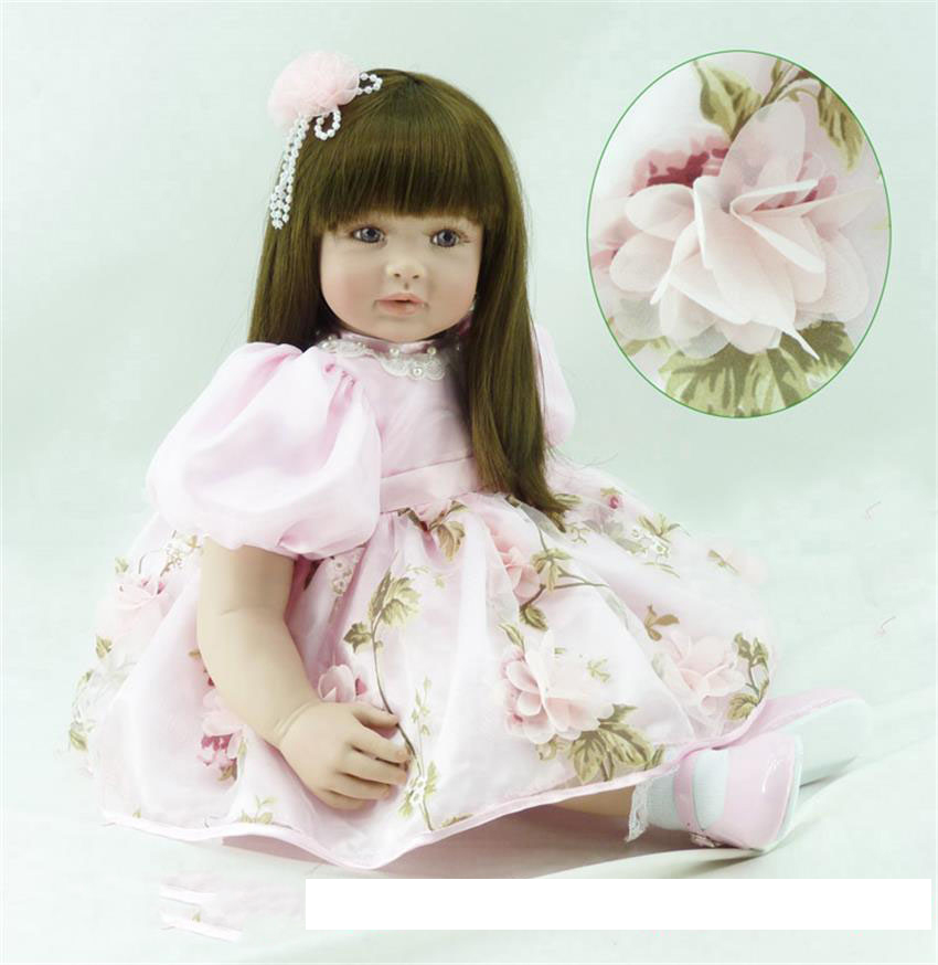 Pursue 24/ 60 cm Real Toddler Girl Vinyl Silicone Reborn Baby Princess Doll Toys Long Hair Babies Dolls Lovely Birthday Gift new fashion design reborn toddler doll rooted hair soft silicone vinyl real gentle touch 28inches fashion gift for birthday