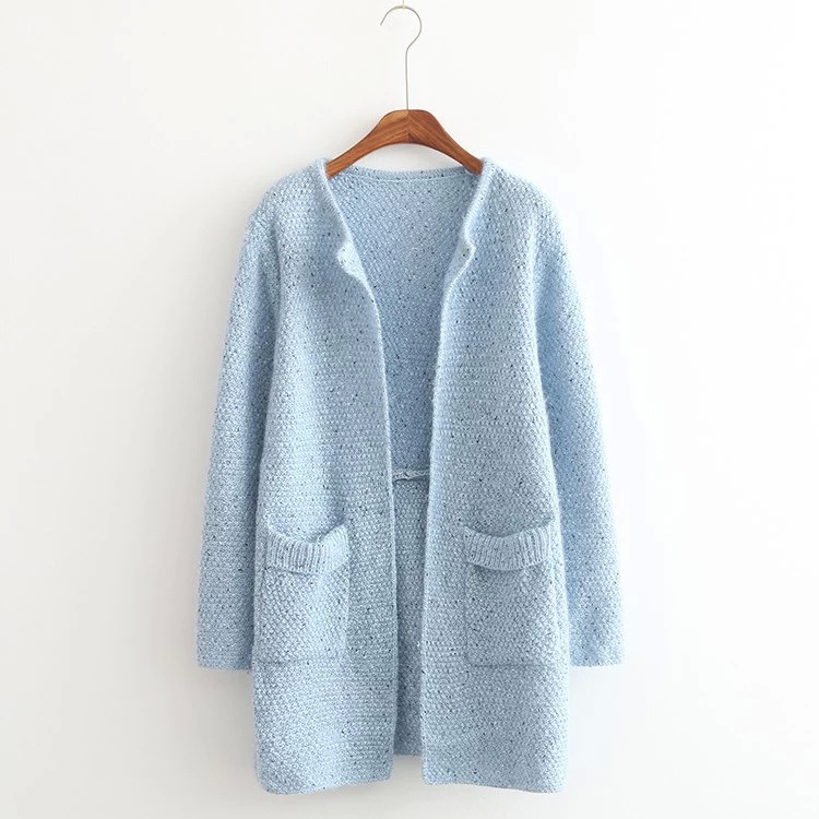 Quick sell Korean style women cardigans 2018 fashion temperament double pockets knit autumn and winter long sweater 16834