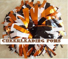 cheerleading Pom poms 3/4″x 6″~custom color metallic orange black and plastic white handmade new hot sale mini order 10 pieces