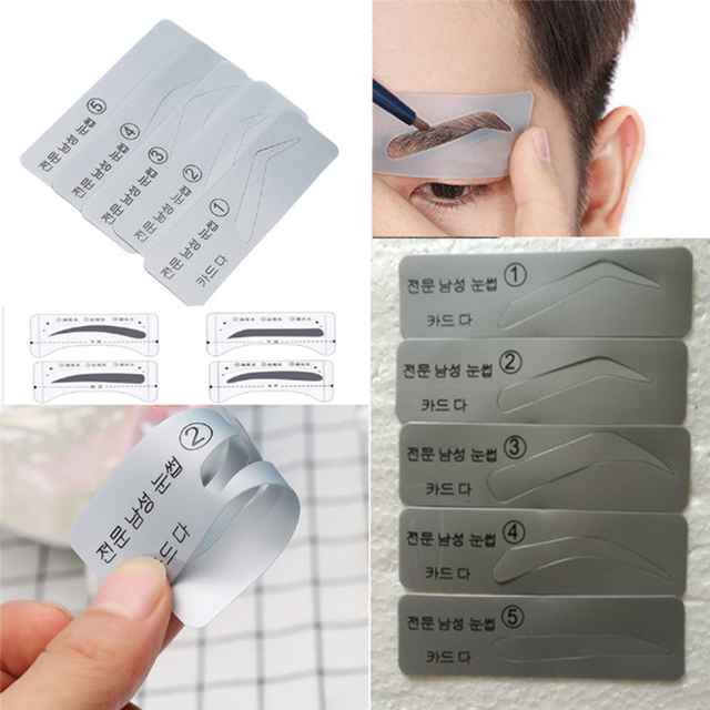 5 Styles Template Eyebrow Stencil Drawing Card Brow Make-Up Grooming Stencil Card 2U0608