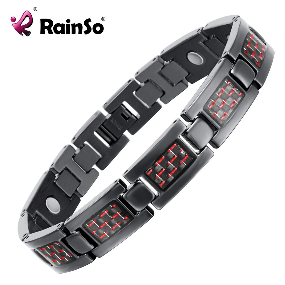 Rainso Bio Energy Health Titanium Bracelet Bangle Red Plated Magnetic Health Care Bracelet For Men Jewelry 2019 Fashion