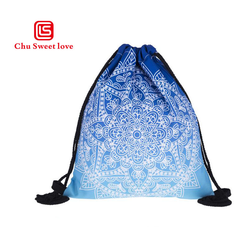 New Style 3D Printing Mandala Pattern Canvas Drawstring Bag Women College Students School Bags High Quality