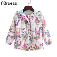 b4d790d4013f 2017 New 2-8T spring amp summer girls jackets casual hooded outerwear for  girls fashion Hand Painted kids Sunscreen clothing girls