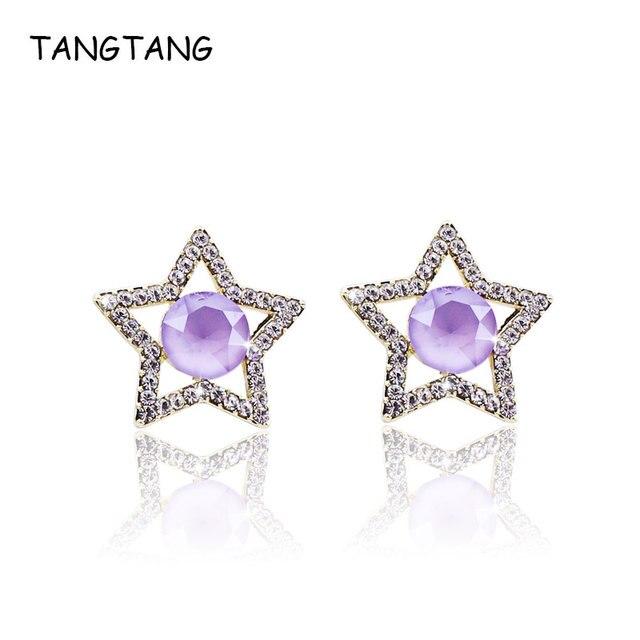 f0aebd8879 US $6.5 25% OFF|Aliexpress.com : Buy Yellow Gold Plating Shiny Purple  Crystal Star Stud Earrings For Women Austrian Rhinestone Fashion Jewelry ...