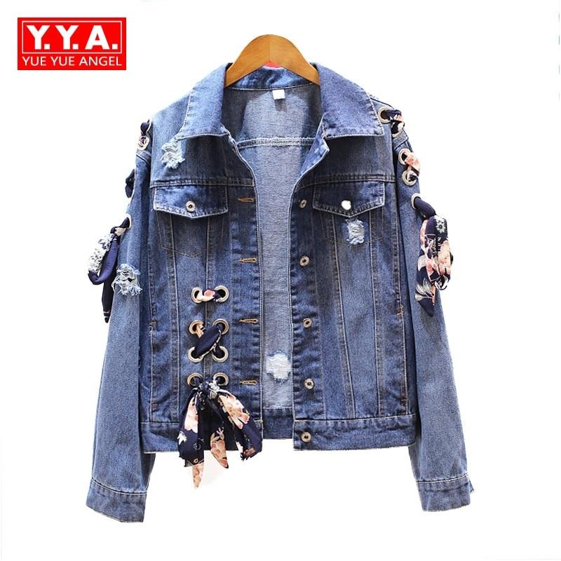 Harajuku Fashion Korea Women Jeans Jackets Boyfriend Bandage Butterfly Patchwork Jaqueta Feminina Hole Ripped Denim Coats Female