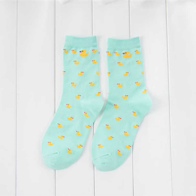 Calcetines cortos bonitos de dibujos animados de patos, calcetines divertidos de moda para mujer, calcetines casuales de algodón para mujer, calcetines Harajuku Sox