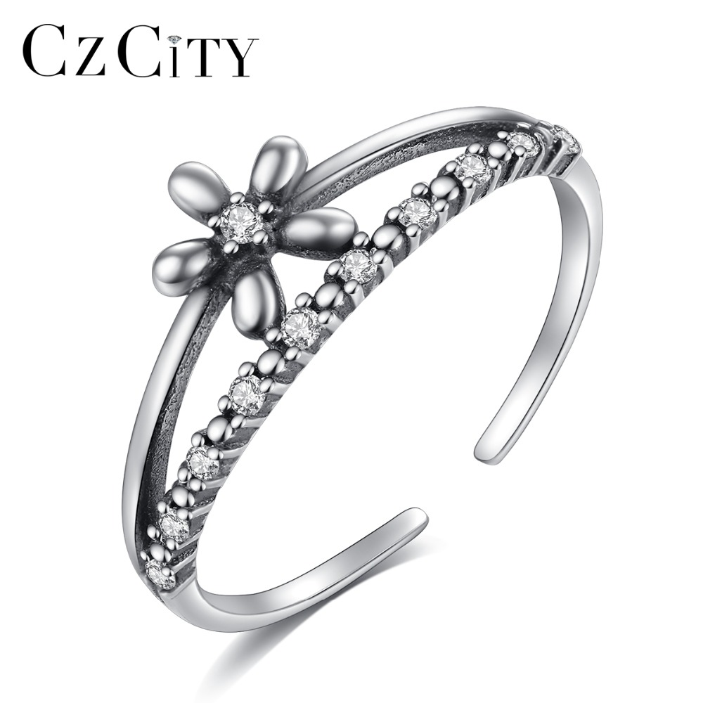 CZCITY Flower Pattern Pure 925 Sterling Silver Adjustable Rings For Women Clear Zircon Antique Engagement Ring Factory Wholesale