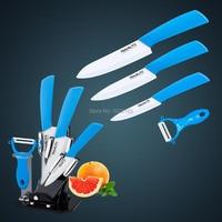 Gift Set of Ceramic kitchen knife/Knife set in blue color handle, 3+4 +5 +Ceramic peeler +Acrylic holder