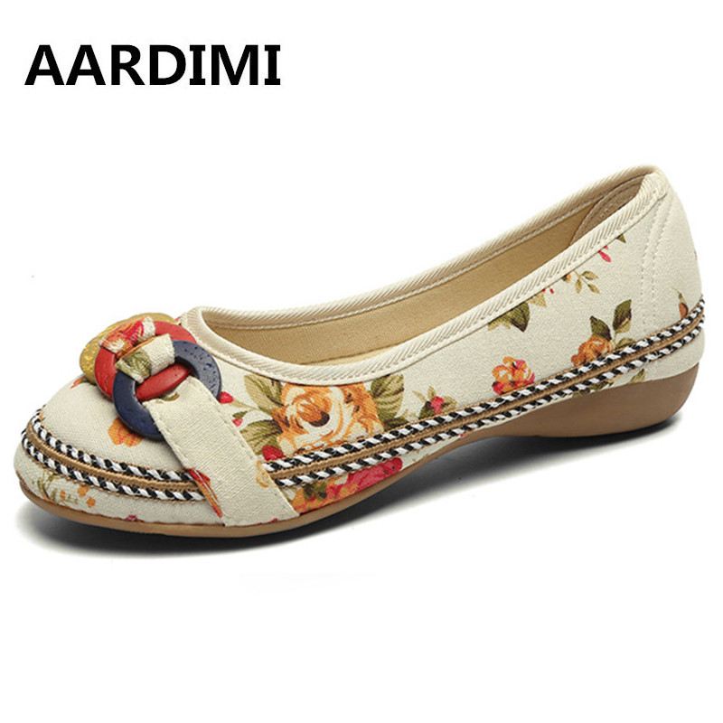 AARDIMI 2017 Autumn Vintage Embroidered Canvas Shoes Woman Casual Women Flats Flower Ballerina Flat Shoes Sapato Feminino new women chinese traditional flower embroidered flats shoes casual comfortable soft canvas office career flats shoes g006
