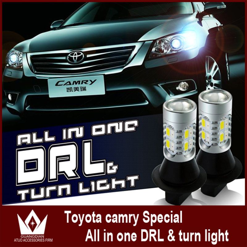 Tcart drl with turn signals light For toyota Camry led drl 2007-2014 7440  Daytime Running Lights & Front Turn Signal all in one 2pcs new style led drl car daylight daytime running lights for toyota camry aurion 2012 2013 2014 with turn signal lamp function