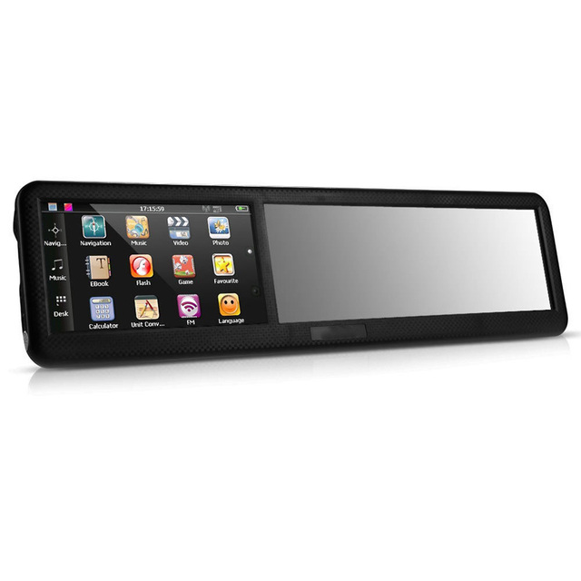 Hot Sale Black 4.3 inch HD touch screen Rearview Mirror ABS Car GPS Navigation Navigator Bluetooth 2.0 8GB AU Map tk102