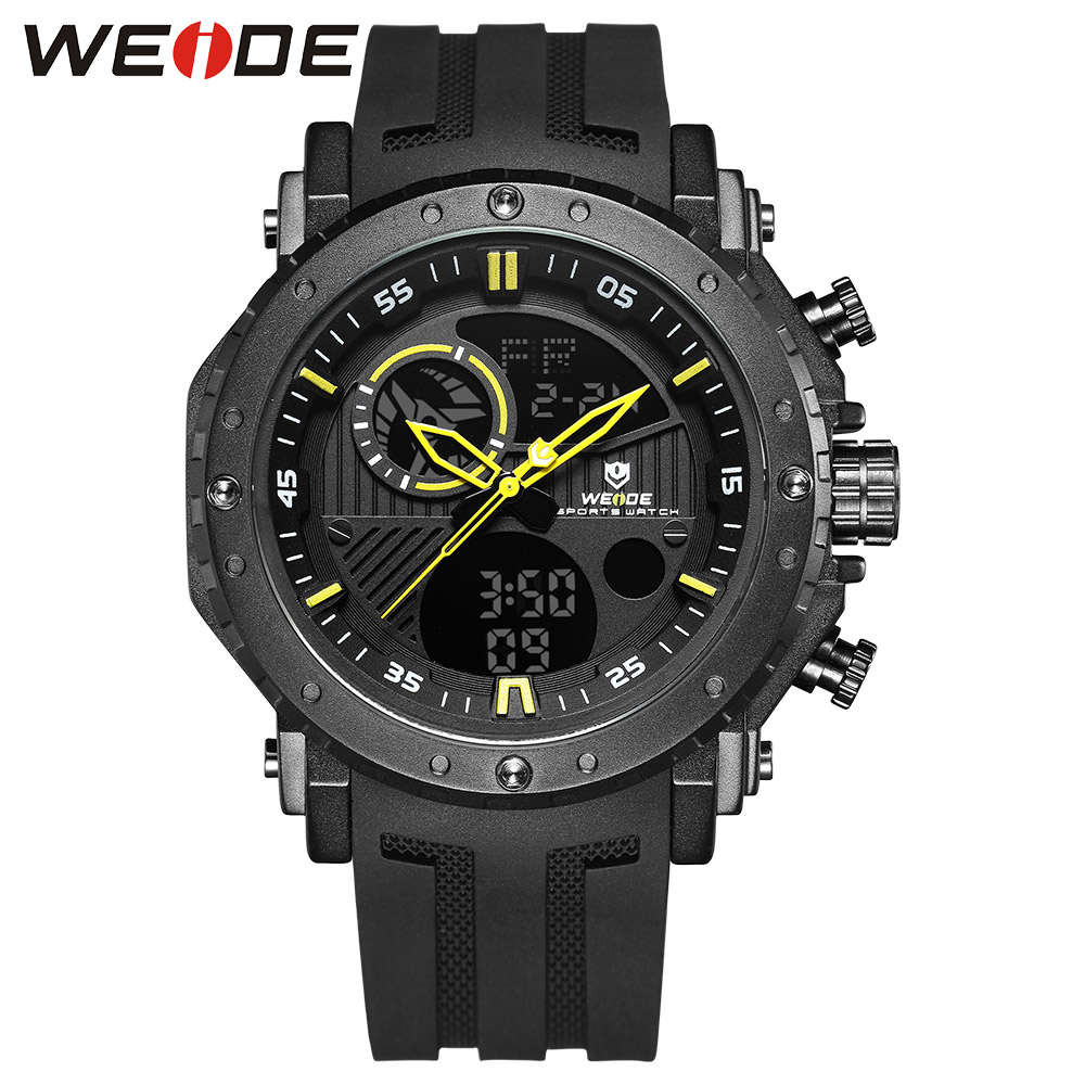 WEIDE Watches Men Top Brand Luxury Men Clock Saat Men's sport Waterproof silicone military Analog LCD Digital Watch chronographs