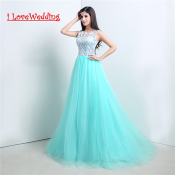 iLoveWedding Stock New A-line Long T Lace Evening Party Dresses Button Back with Appliques Women Formal Prom Gowns 20105