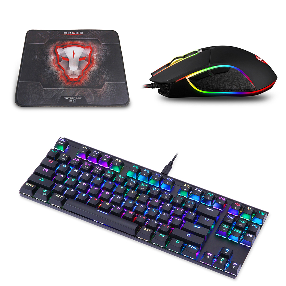 Motospeed V30 Wired Optical USB Gaming Mouse+CK101 87 Key NKRO RGB backlight Mechanical Keyboard+ P70 Mouse Pad for pc computer i rocks im3 we usb 2 0 wired 3500dpi optical gaming mouse w backlight white