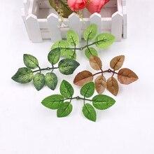 10 шт. Зеленый Искусственный лист свадебный цветок предмет интерьера картина с розами Букет Аксессуары листья diy вырезать и вставить искусственные поддельные цветы