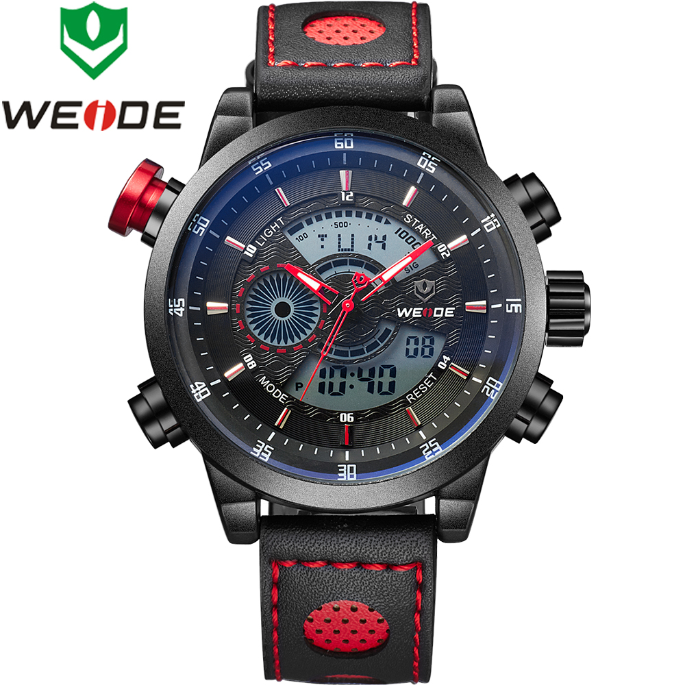 WEIDE Top Brand Relogio Masculino Sports Watches For Men Digital Analog Mens Watch Army Military Waterproof Quartz Wristwatches new brand weide men sports watches mens military leather analog digital watch black relogio masculino led army wristwatch clock