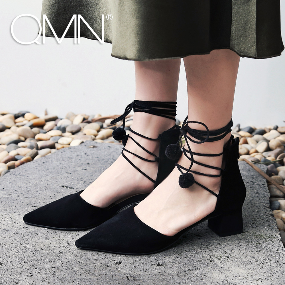 QMN women genuine leather pumps Women Pompom Embellished Ankle Strap Summer Leather Shoes Woman Black Natural Suede Pumps qmn women crystal embellished natural suede brogue shoes women square toe platform oxfords shoes woman genuine leather flats
