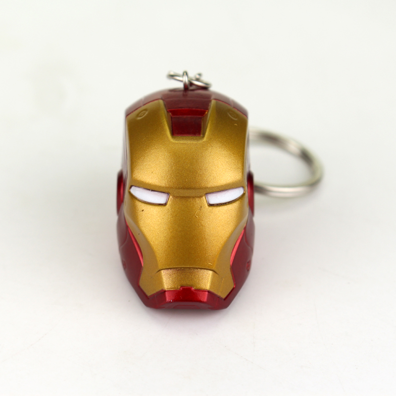 Marvel Super Hero The Avengers Iron Man Mask Rubber Keychain Pendant Key Chain Movie Iron Man Head Key Rings Gift For Man image