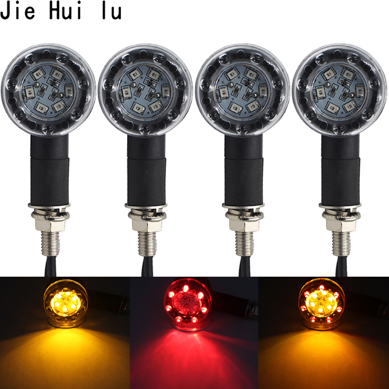 Motorcycle Turn Signal Lights 6+7 LED Amber & Red Bullet Blinker Turn Signal Indicators Running Brake Tail Light Custom 1Pcs