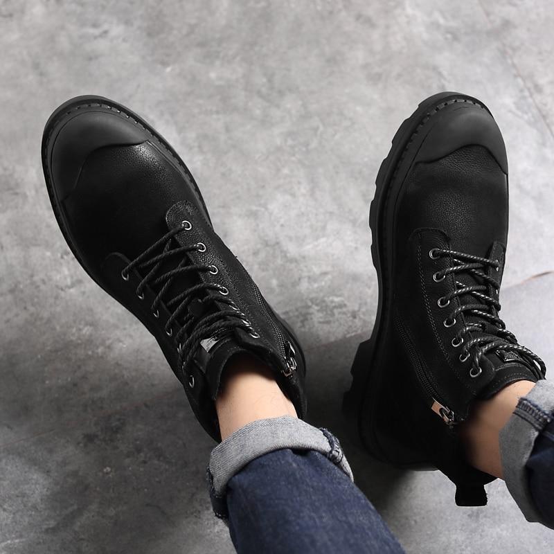 Outono amp; Sapato Moda Black Dos Sapatos De black Four Wool Homem Genuíno Segurança Season Add Casuais Homens Couro Para Bota Botas Militares Trabalho Preto Tornozelo Inverno qvIRw6zn