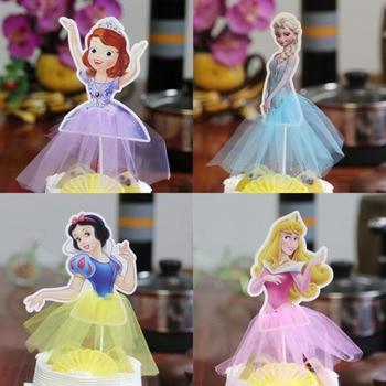10 pz Handmade Principessa Toppers Cupcake Ragazze Di Compleanno Fornitura Arredamento Partito Della Sirena/Cenerentola Cake Toppers Torta linserimento di bandiera