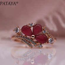 PATAYA New Three Water Drop Women Rings 585 Rose Gold Round Natural Zirconia Wedding Party Fashion Jewelry Trendy Colored Rings(China)
