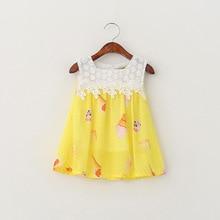 New 2016 Ice Cream Print Baby Girls Dresses Summer Toddler Kids Clothes Sleeveless Girl T-shirt Dress Infant Kids Wear