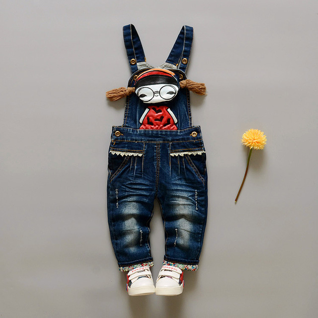 2016 Nova Primavera & Outono Bebê Roupas Meninas Do Bebê Crianças De Veludo Suspensórios Denim Macacão Calças Calças Do Bebê Das Meninas Dos Meninos Dos Desenhos Animados