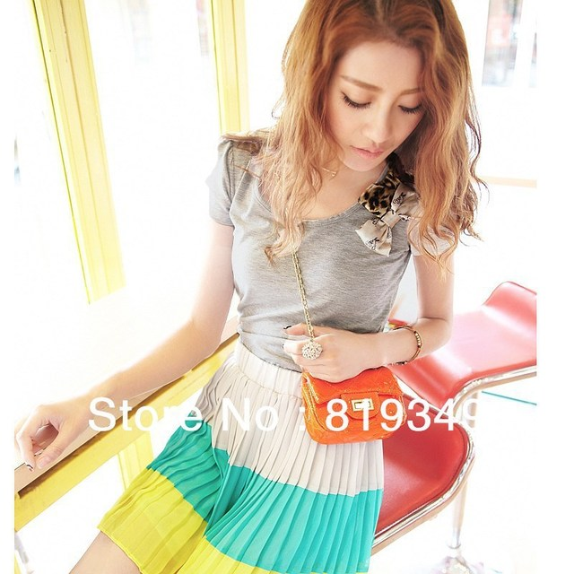 2013 New Fashion VANCL Women T-shirt High Quality Sweet Short Sleeve Tee Butterfly Bows Pleated T-Shirt Ash Gray FREE SHIPPING