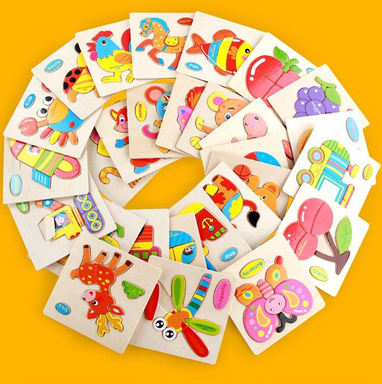 Mainan Bayi Kanak-kanak Pendidikan Haiwan / Buah-buahan / Kenderaan - Teka-teki - Foto 6