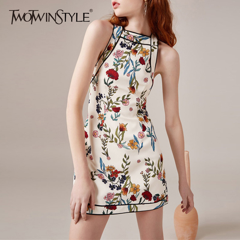 TWOTWINSTYLE Print Women s Dress Sexy Off Shoulder Slim Backless Halter Mini Dresses Summer Female Fashion